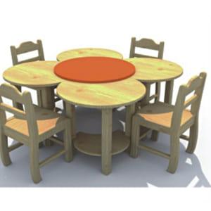 Bàn ghế gỗ hình bông hoa