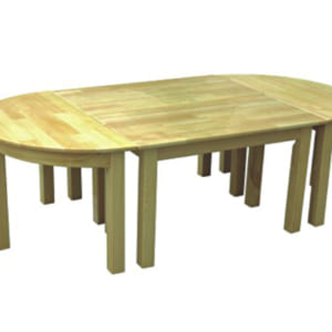 Bàn gỗ thông ghép hình elip
