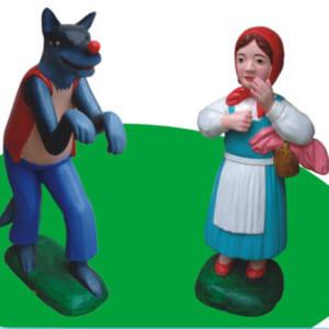 Tượng cô bé quàng khăn đỏ và chó sói