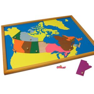 Bản đồ ghép hình Canada khung gỗ sồi