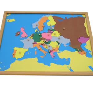 Bản đồ ghép hình châu Âu khung gỗ sồi