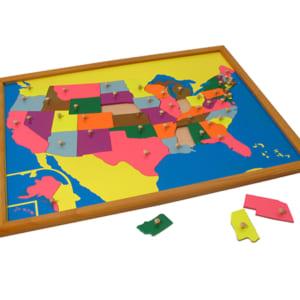 Bản đồ ghép hình nước Mỹ khung gỗ sồi